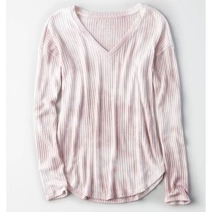 American Eagle • Pink Tie Dye Ribbed Tee Knit Top